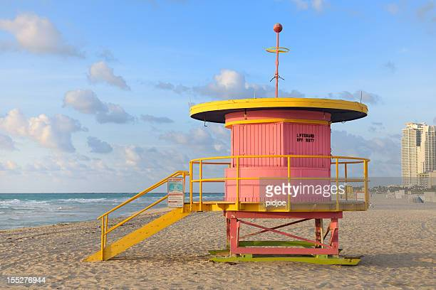 lifeguard hut on Miami Beach at sunrise
