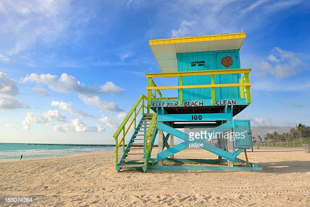 lifeguard hut on Miami South Beach at sunrise