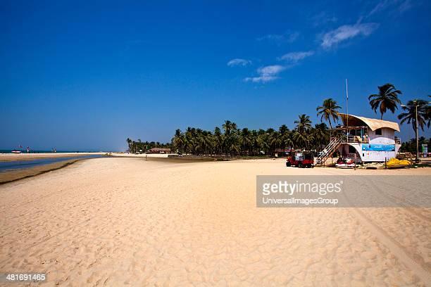 Lifeguard hut on the beach Colva Beach Colva South Goa Goa India