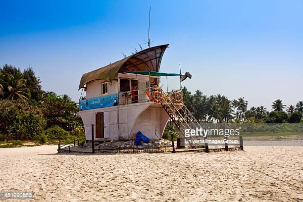 Lifeguard hut on the beach Majorda Beach Majorda South Goa Goa India