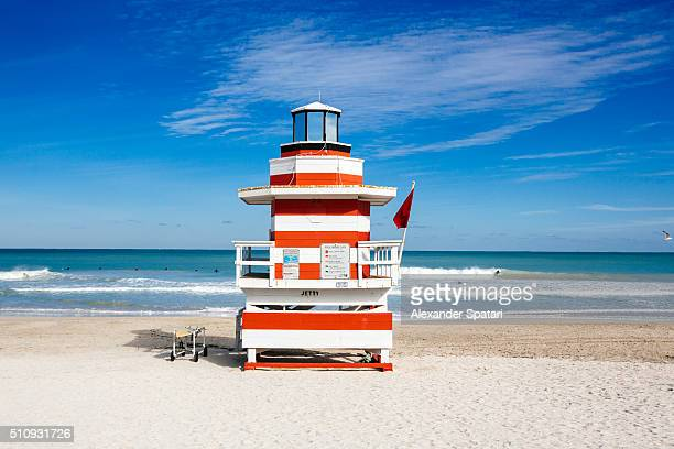 Lifeguard hut stylized as lighthouse in South Beach, Miami, Florida, USA
