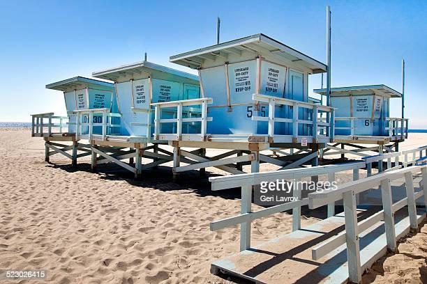 lifeguard huts at zuma beach - zuma beach stock photos and pictures