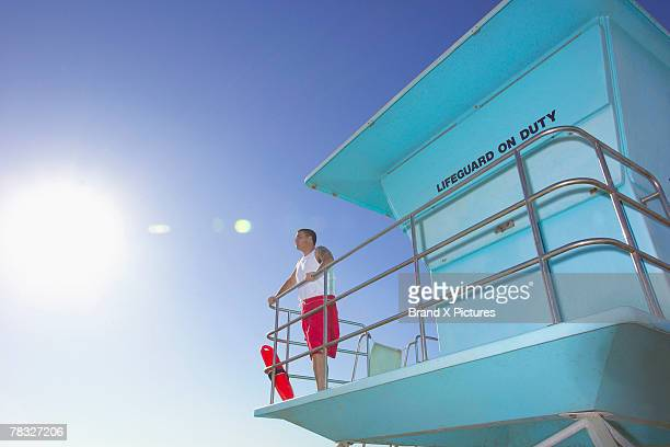 Lifeguard in tower