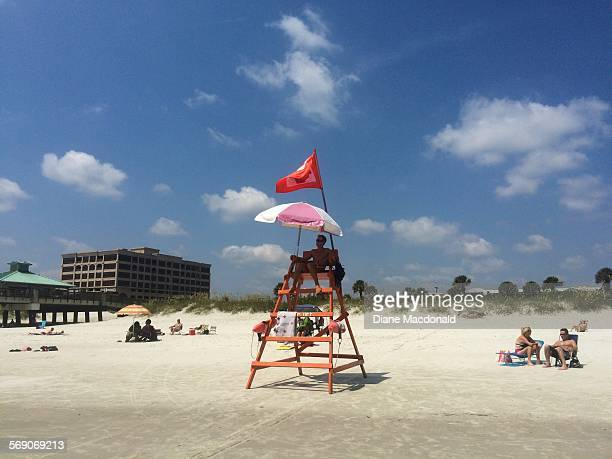 Lifeguard on chair at Jacksonville Beach Florida USA on July 22 2015