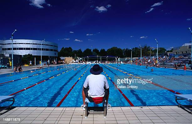 Life-guard on duty at the Fitzroy public swimming pool.