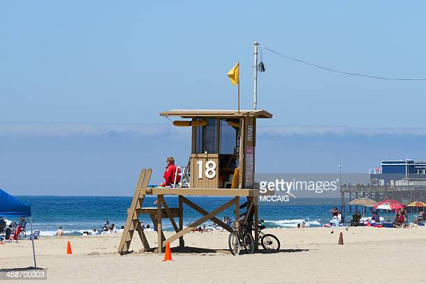 lifeguard on duty - newport beach california stock photos and pictures