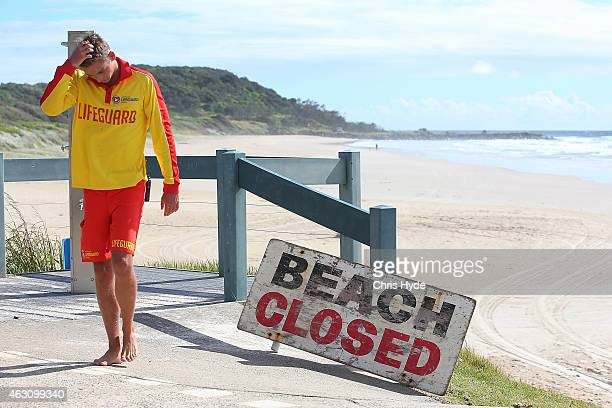 A lifeguard patrols Shelly Beach on February 10 2015 in Ballina Australia Beaches in northern NSW remain closed after Tadashi Nakahara was killed on...