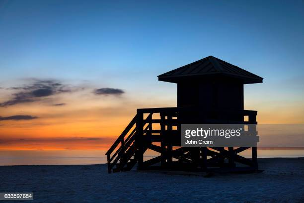 Lifeguard shack at sunset.