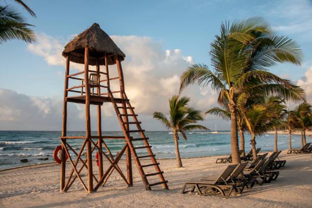 Lifeguard small watchtower at dusk, beach, seascape, Playa del Carmen, Riviera Maya, Mexico