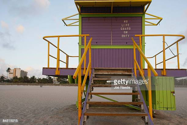 A lifeguard stand is seen on the beach near the famed Ocean Drive strip on January 28 2009 in Miami Beach Florida As the economic downturn continues...