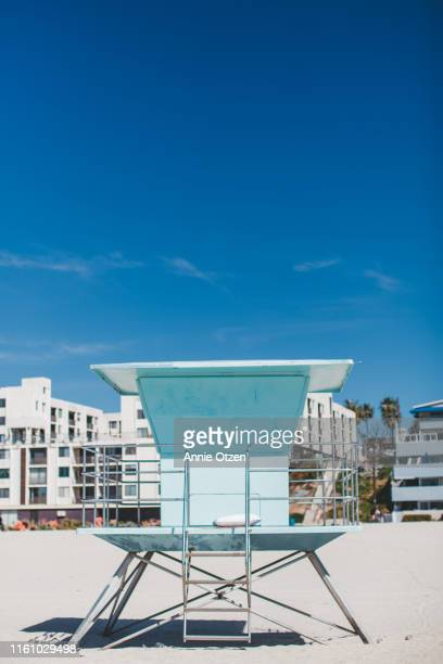 lifeguard stand on beach - malibu stock pictures, royalty-free photos & images