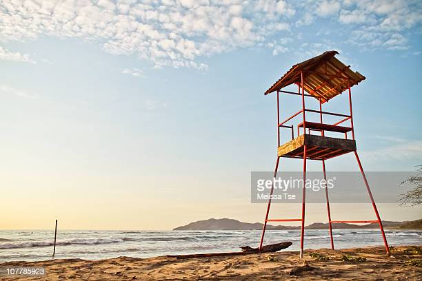 Lifeguard station during sunset in Costa Rica