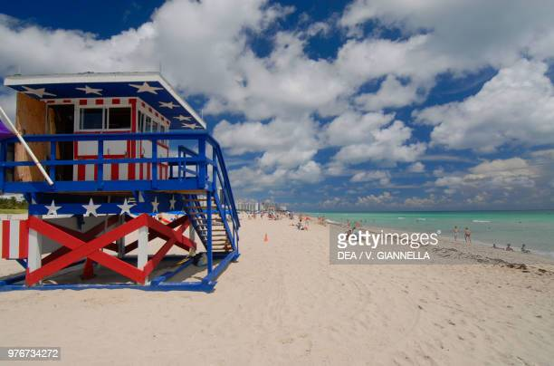 Lifeguard station in South Beach Miami Beach Florida United States of America