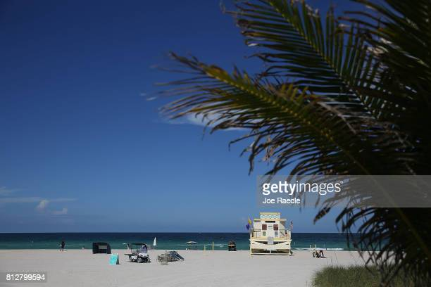 A lifeguard station is seen on Haulover Beach where a rare shark attack occured in the water on Sunday afternoon on July 11 2017 in Sunny Isles...