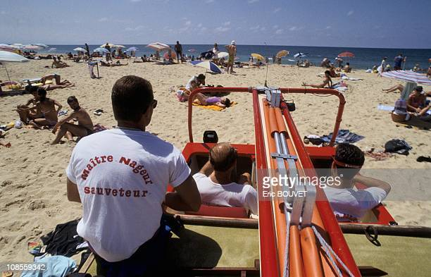 CRS lifeguard team ensure security on beaches in Landes France in July 1989