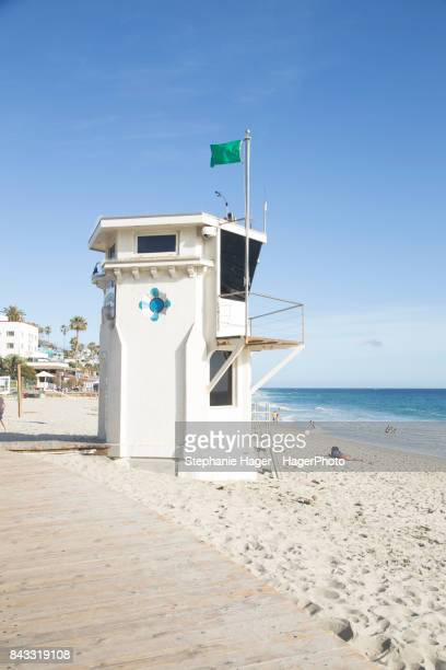 Lifeguard tower at Main Beach boardwalk in Laguna Beach, CA