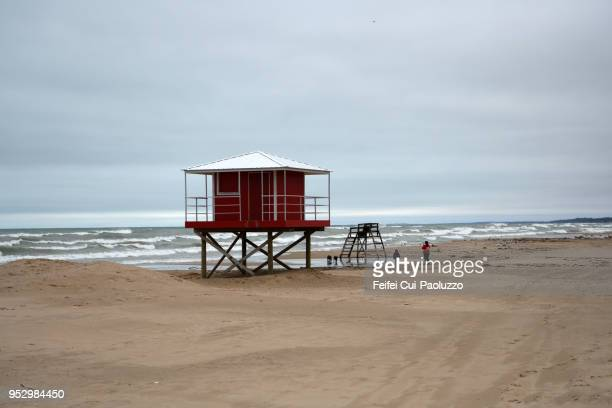 Lifeguard tower at Michigan City, Indiana, USA