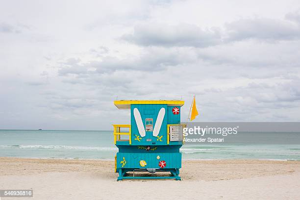 Lifeguard tower at South Beach, Miami, Florida, USA
