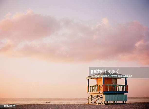 Lifeguard tower at sunrise