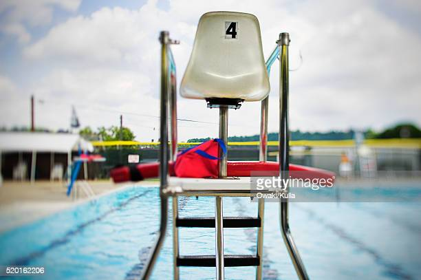 lifeguard tower at swimming pool - lifeguard stock pictures, royalty-free photos & images