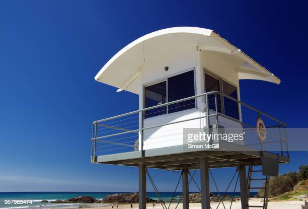 lifeguard tower at town beach, port macquarie, new south wales, australia - tower stock pictures, royalty-free photos & images