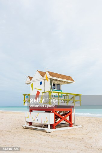 Lifeguard tower in South Beach, Miami, Florida, USA