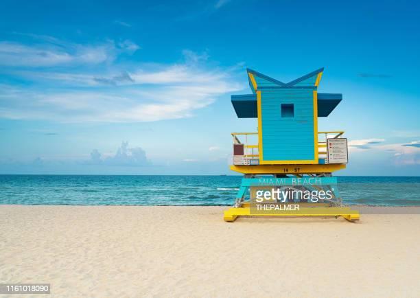 lifeguard tower miami beach - miami beach stock pictures, royalty-free photos & images