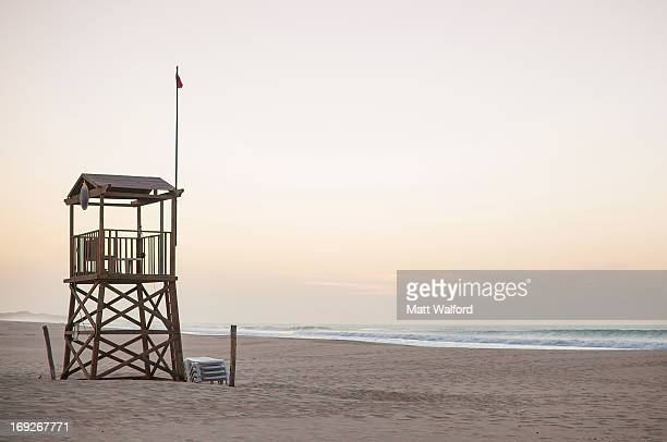 lifeguard tower on beach - cape verde stock pictures, royalty-free photos & images