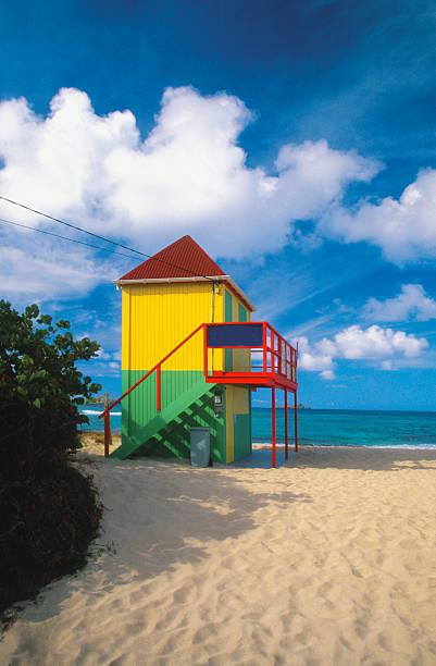 Lifeguard tower on deserted beach on Saint Barts, Caribbean