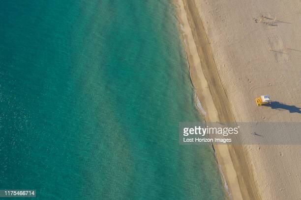 lifeguard tower on fisher island beach, aerial view, miami, florida, united states - fisher island stock pictures, royalty-free photos & images