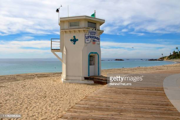 lifeguard tower - laguna beach california stock pictures, royalty-free photos & images