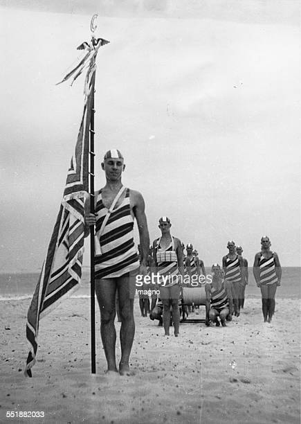 Lifeguard unit in its own bathing suits at the Bondi Beach near Sydney 15th May 1936 Photograph
