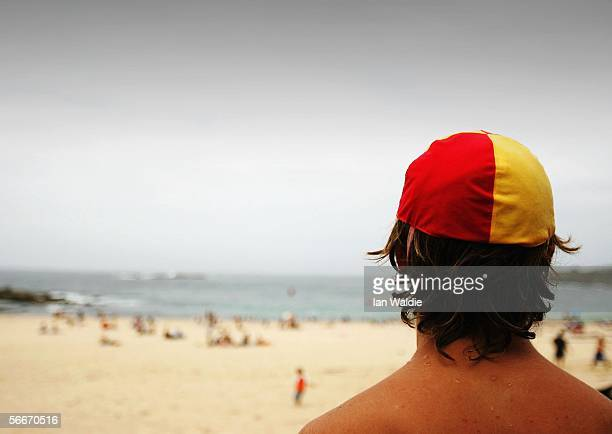 A lifeguard watches over Coogee beach January 26 2006 in Sydney Australia Australia's surf lifesavers have saved more than 500000 lives since 1907...
