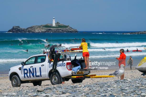 RNLI lifeguards on duty at Gwithian beach on May 31 2020 in Gwithian United Kingdom Lifeguards returned at Gwithian and six other Cornish beaches...