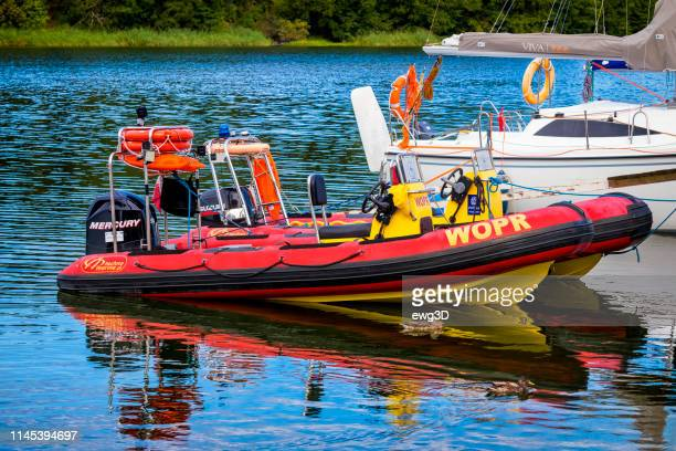 Lifeguard's rescue motorboats on the lake