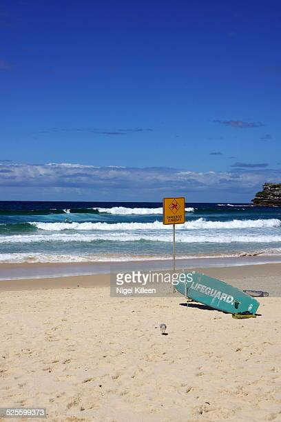 A lifeguard's rescue surfboard on Bondi Beach Sydney Australia