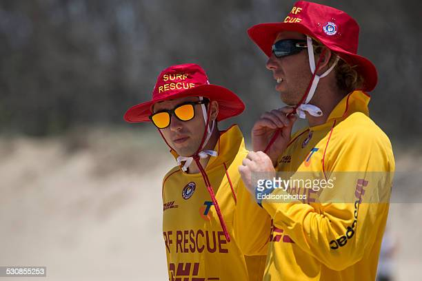 Lifeguards standy ready on beach