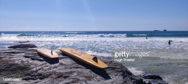 rnli lifeguards surfboards - hugh threlfall stock pictures, royalty-free photos & images