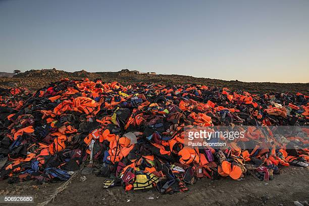 Lifejackets are seen taking over a garbage dump in Molyvos Lesbos on November 122015 According to the IOM an estimated 100000 people landed in Greece...