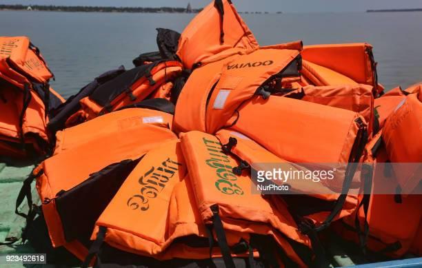 Lifejackets piled on a ferry boat at Kurikadduvan Harbour in Northern Sri Lanka