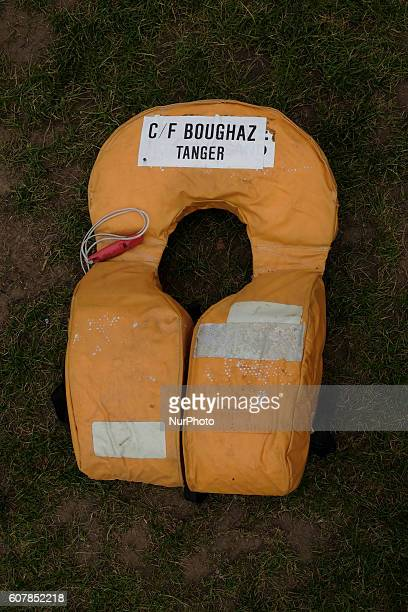 Lifejackets that have been used by refugees to cross the sea to Europe are laid out in Parliament Square on September 19 2016 in London England 2500...