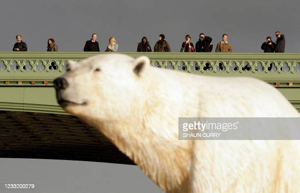 Life-like 16ft high sculpture of an iceberg featuring a stranded polar bear and its cub is pictured on the River Thames in London, on January 26,...