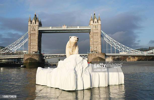 Life-Like 16Ft High Sculpture Of An Iceberg Featuring A Stranded Polar Bear And Its Cub Was Launched On The Thames Today To Mark The Launch Of The...