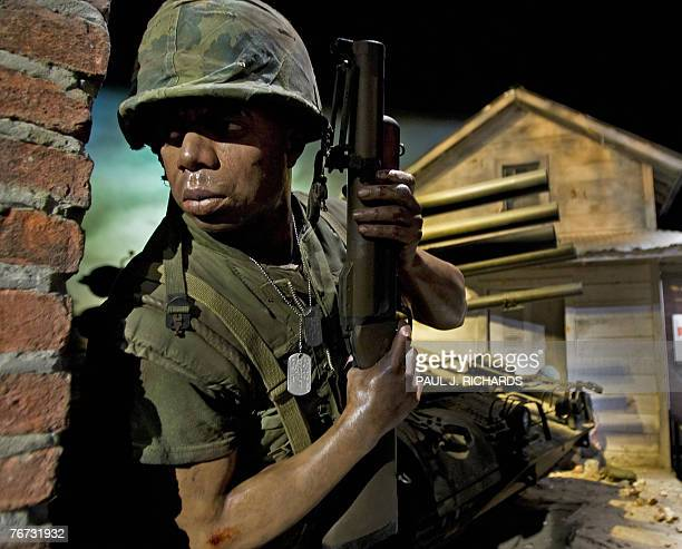 A lifelike soldier from the US Marines on duty in Viet Nam is on display 13 September 2007 at the National Museum of the Marine Corps in Triangle...
