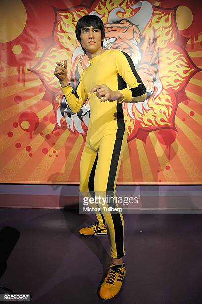 Lifelike wax statue of the late martial arts actor Bruce Lee is unveiled at Madame Tussaud's Wax Museum on February 11 2010 in Hollywood California