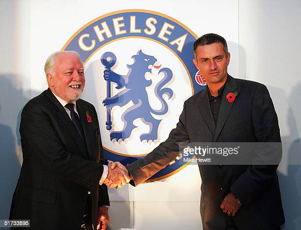 Lifelong Chelsea supporter Lord Attenborough and manager Jose Mourinho unveil the new Chelsea badge during a Chelsea Football Club press conference...