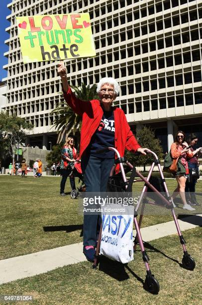 Lifelong Los Angeles resident June Lane age 93 attends the International Women's Day rally outside City Hall on March 8 2017 in Los Angeles California