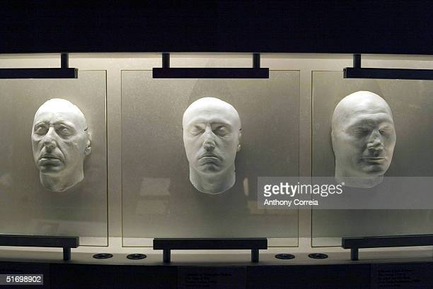 Lifemasks of actors Al Pacino Christopher Walken and Jack Palance hang on display at the Museum of the Moving Image during the reception for the...