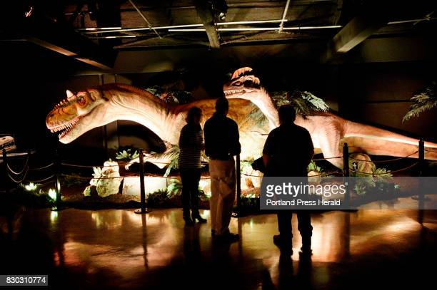 A lifesize animatronic Allosaurus left and a Dilophosaurus on display at the dinosaur exhibit at the Portland Science Center Thursday November 17...