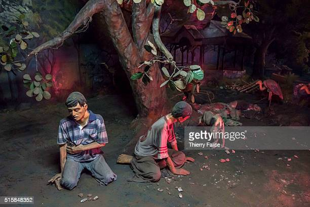 Lifesize effigies of drug addicts wandering in a waste land are displayed at the Drug Elimination Museum in Yangon The museum built on three floors...
